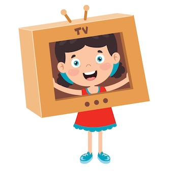 Happy kid playing with cardboard costumes