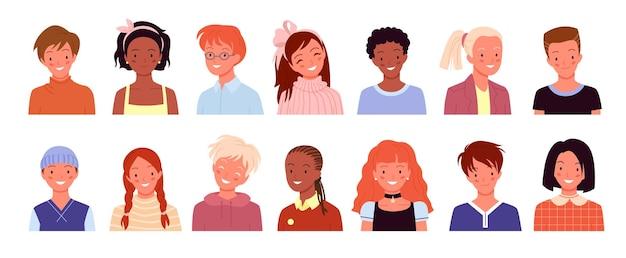 소셜 미디어 또는 블로그 계정을 위한 행복한 아이 프로필 아바타, 웃는 학교 아이들