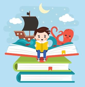 Счастливый малыш читает книги и историю пиратов