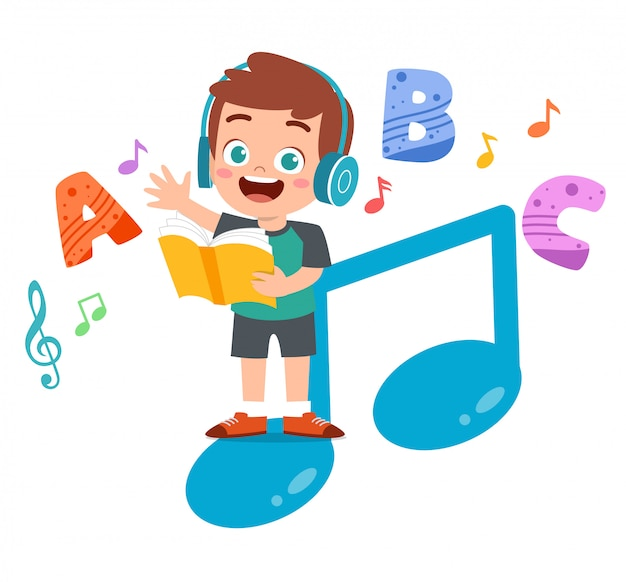 Happy kid reads books and listens to music