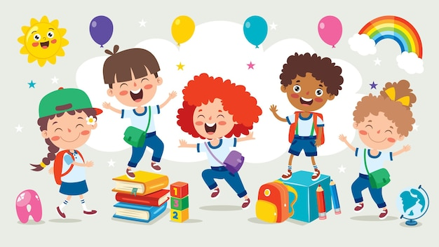 Счастливый ребенок учится и учится