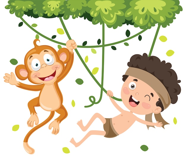Happy kid swinging with monkey in jungle