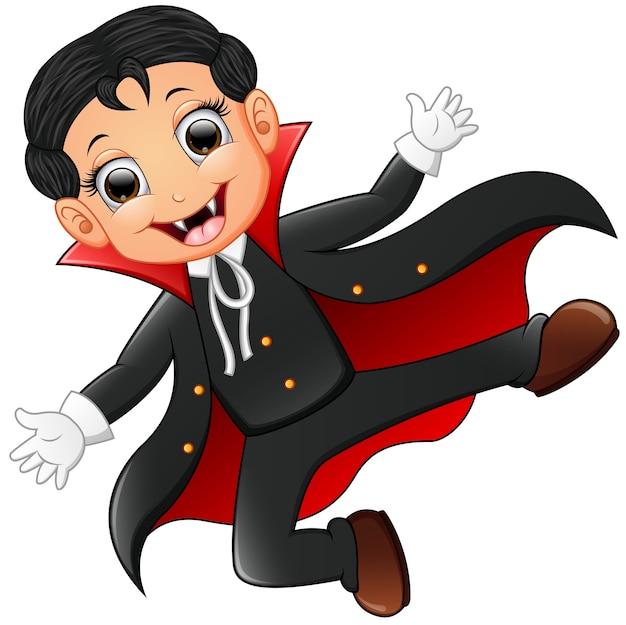 Happy kid wearing dracula costume