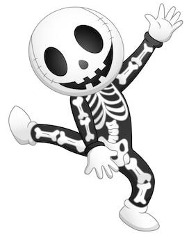 Happy kid wearing skeleton costume