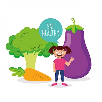 Happy kid with vegetable cartoon