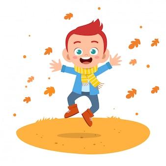 Happy kids autumn