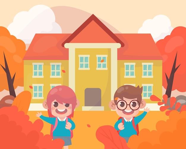 학교로 돌아가는 행복한 아이들