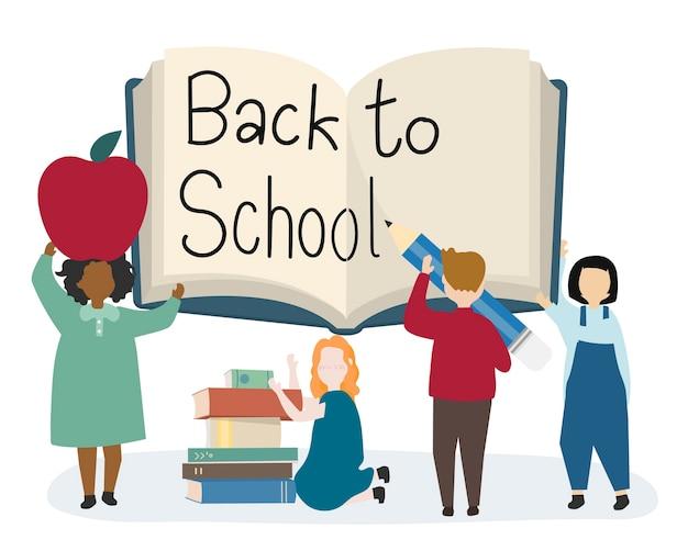 幸せな子供たちが学校に戻る