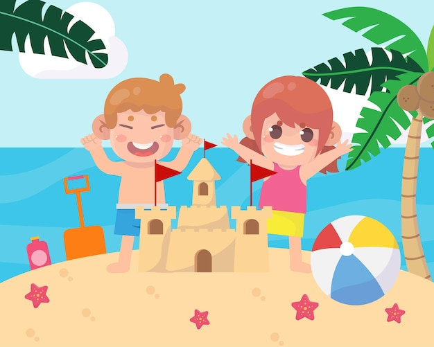 Happy kids on the beach holiday illustration