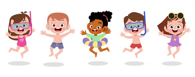 Happy kids beach holiday vector illustration isolated