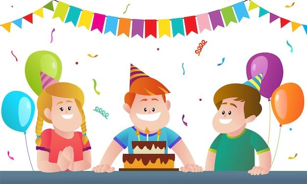 Happy kids birthday party cartoon illustration