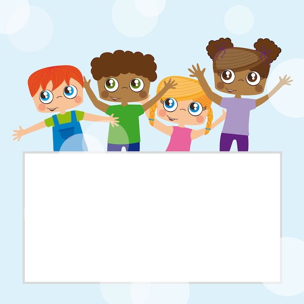Happy kids, blank space to insert text or design