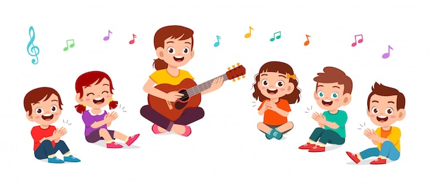 Happy kids boy and girl sing song with teacher