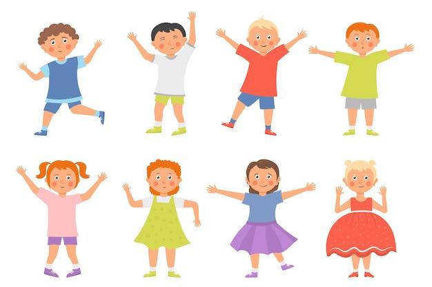 幸せな子供漫画コレクションは、白い背景で隔離。男の子と女の子が一緒に楽しくジャンプして遊んでいます。コンセプトは、子供時代の楽しく活気のある瞬間です。