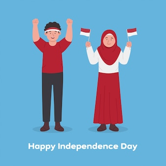 Happy kids celebrating indonesia independence day cartoon