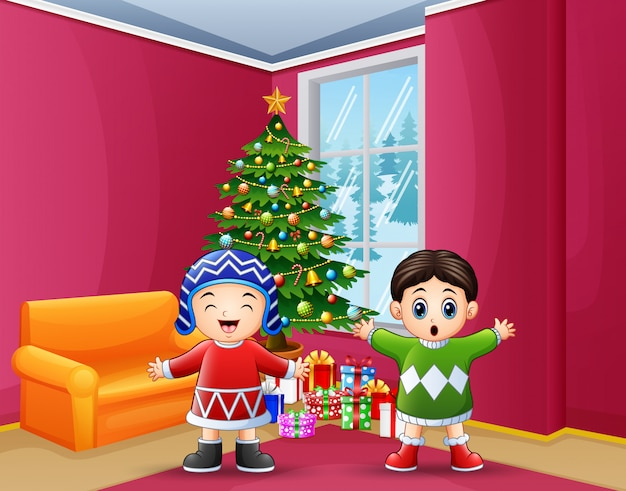 Happy kids celebration a christmas in the home