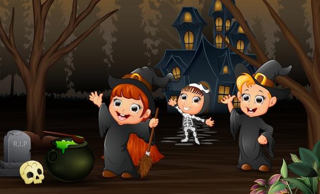 Happy kids celebration of halloween day