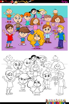 Happy kids characters group coloring book