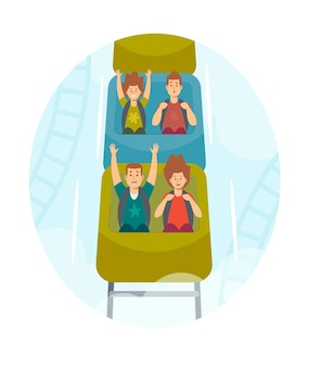 Happy kids characters riding roller coaster in amusement park. excited boys and girls having fun at rollercoaster car. weekend recreation, extreme, family leisure. cartoon people vector illustration
