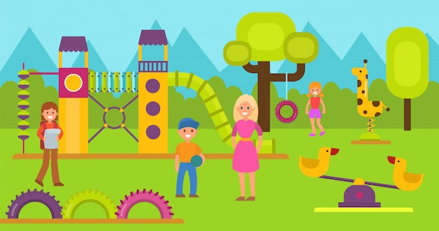 Happy kids on children playground vector illustration. teen boy and girl with mothers or teacher walking and playing on game area. childrens gaming and sport complex. kindergarten or school area