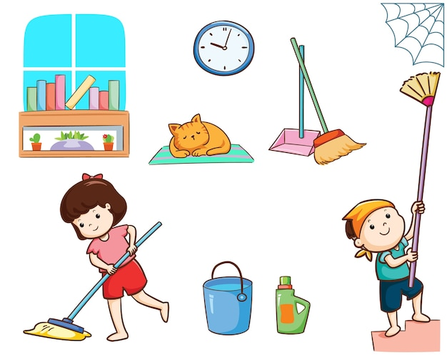 Happy kids cleaning the house vector illustration.