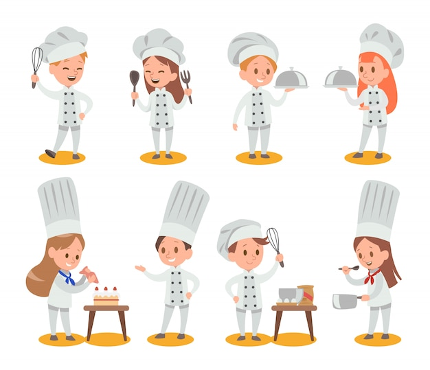 Happy kids cooking
