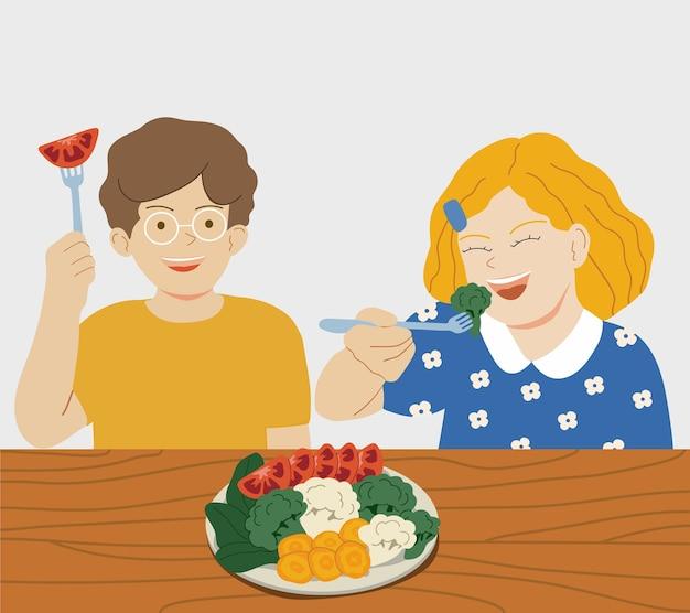야채를 먹는 행복한 아이들 손으로 그린 평면 만화 일러스트 레이션