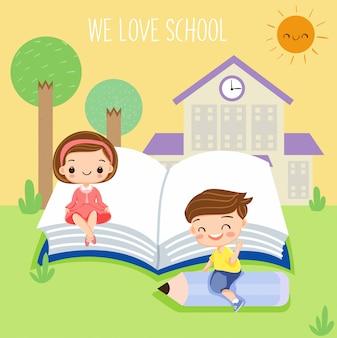 Happy kids enjoy studying at school