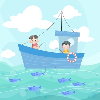 Happy kids fishing together