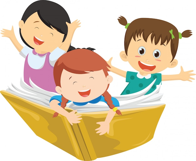 Happy kids flying on a book