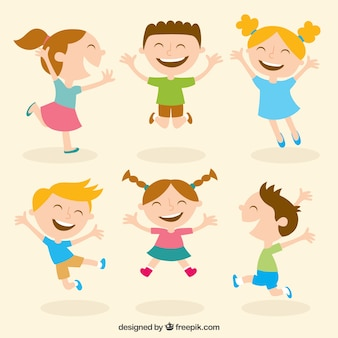 Happy kids illustration Premium Vector