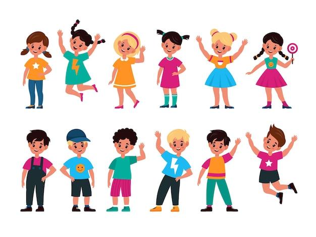 행복한 아이들. 다양한 액션 포즈를 취하고 있는 즐거운 취학 전 귀여운 아이들, 손을 흔들고, 점프하고, 서 있는 어린 친구 소녀들과 소년들은 미소를 짓고 만화 플랫 벡터 어린 시절 컬렉션을 웃습니다.