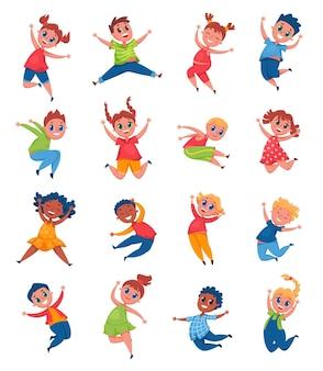 幸せな子供たちがジャンプして笑う陽気な女子高生と男の子の笑顔の漫画セット