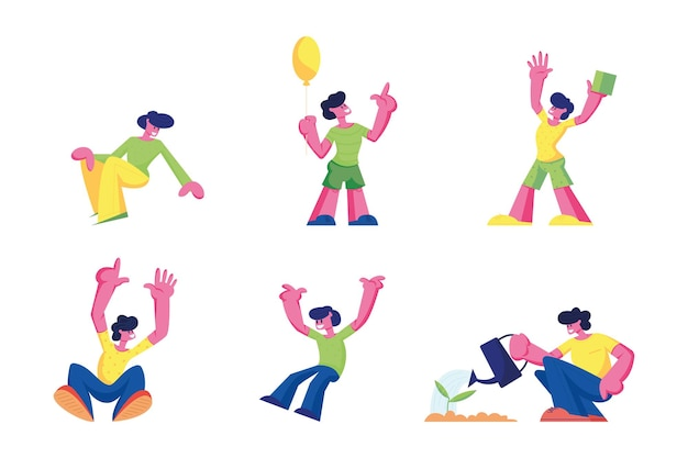 幸せな子供たちのジャンプと白い背景で隔離の喜び。漫画イラスト