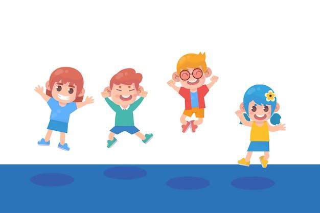 プレミアムベクトルをジャンプする幸せな子供たち