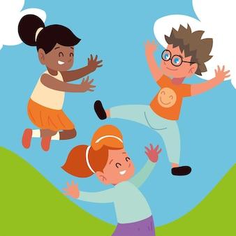一緒にジャンプする幸せな子供たち漫画