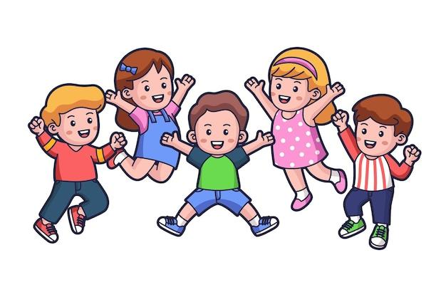 幸せな子供たちのジャンプ