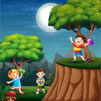 Happy kids learning at night