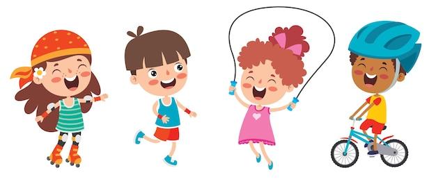 다양한 스포츠를 만드는 행복한 아이들