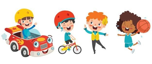 さまざまなスポーツをする幸せな子供たち