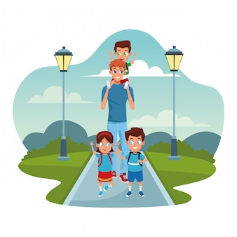 Happy kids and man walking in the park over street lamps and white