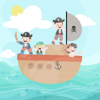 Happy kids play pirate in the ocean