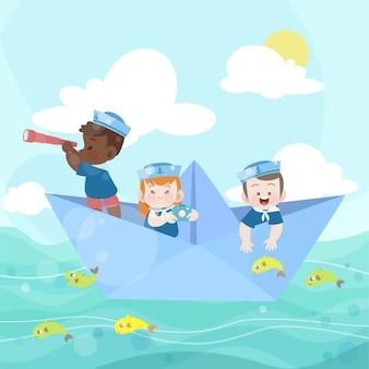 Счастливые дети играют вместе в океане