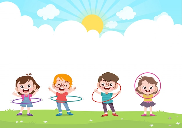 Happy kids playing hulahoop v