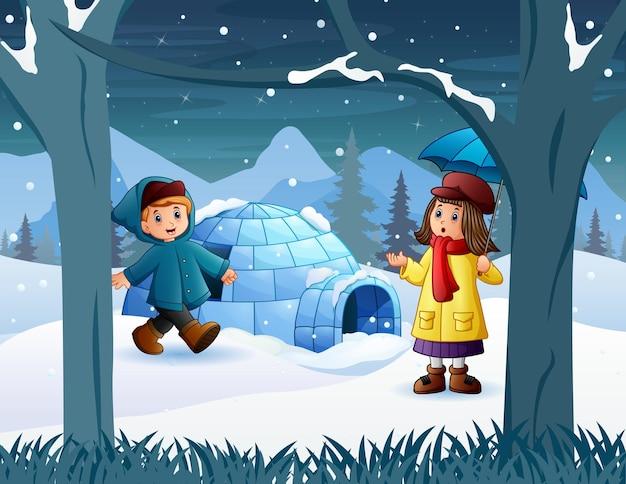 雪原のイラストで遊ぶ幸せな子供たち
