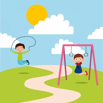 Happy kids playing jum rope and bar monkey enjoy