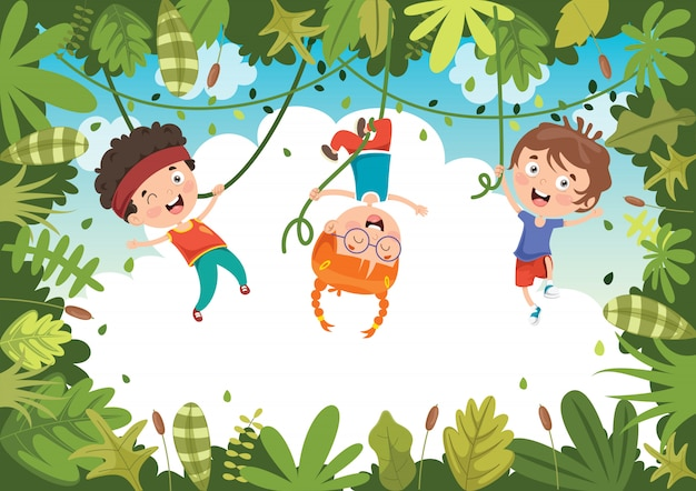 Happy kids playing in jungle