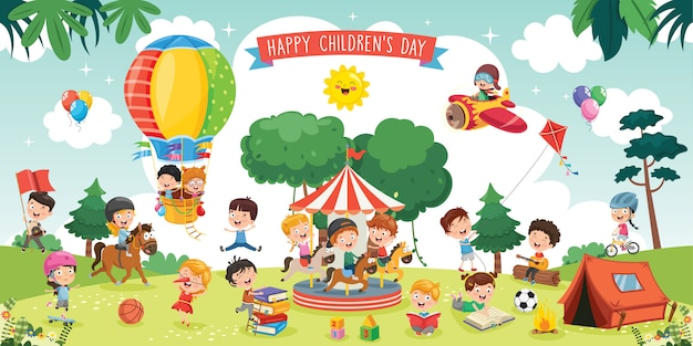 Happy kids playing landscape illustration