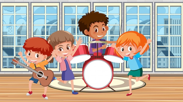 Happy kids playing music in the band