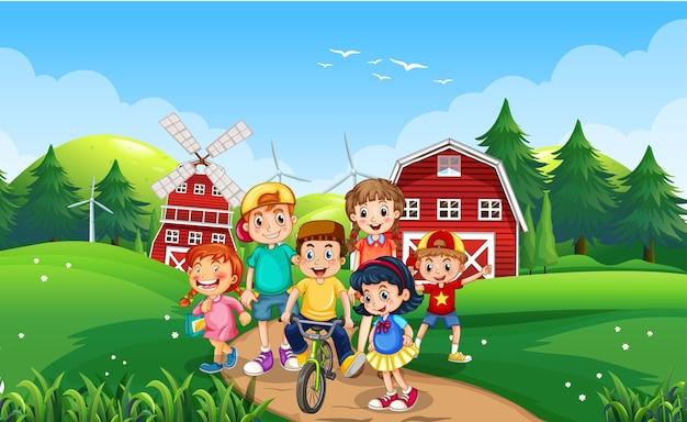 屋外の自然を遊んで幸せな子供たち
